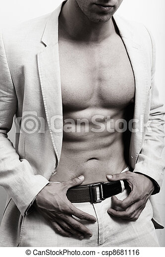 Muscular man with sexy abs and suit - csp8681116