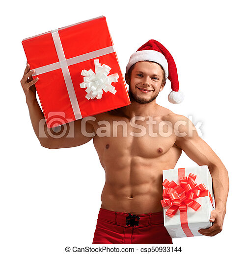 Muscular Santa Claus Holding Presents Merry Christmas Cropped