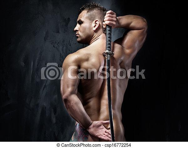 muscular, sword., witf, posar, atraente, homem - csp16772254