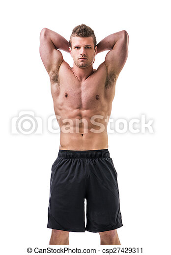 Muscular young man with arms up, isolated on white background ...