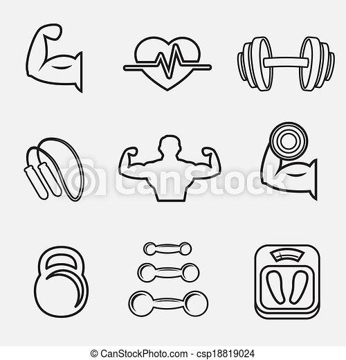 Musculation sport ensemble fitness ic nes ensemble balances poids ic nes isol - Dessin humoristique musculation ...