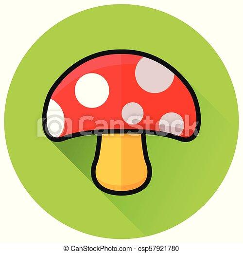 mushroom circle green flat icon - csp57921780