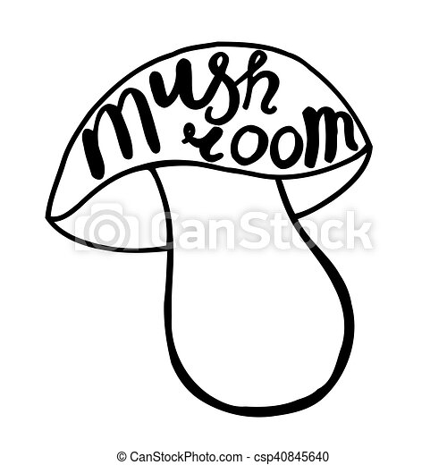 mushroom graphic drawing trace with art lettering vector illustration