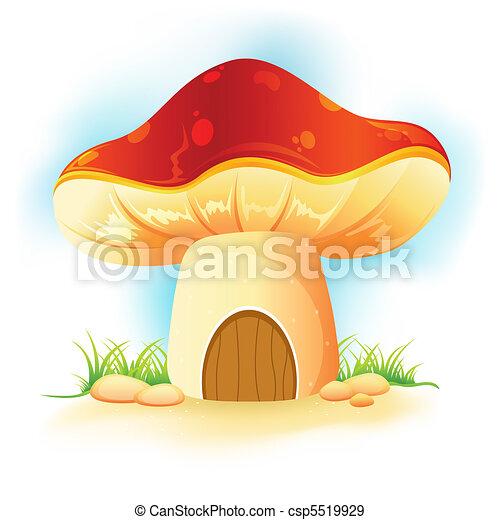 mushroom home in garden - csp5519929