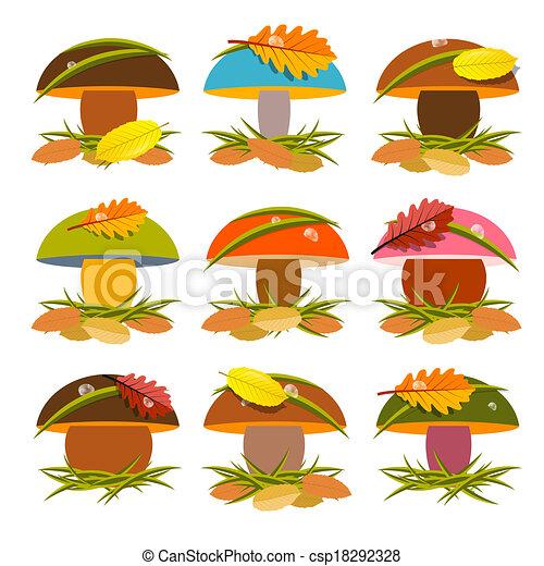 Mushroom Set Illustration Isolated on White Background - csp18292328