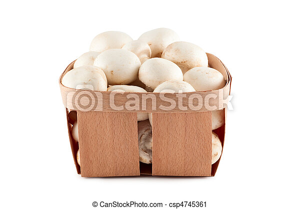 Mushrooms in box isolated on white background. - csp4745361