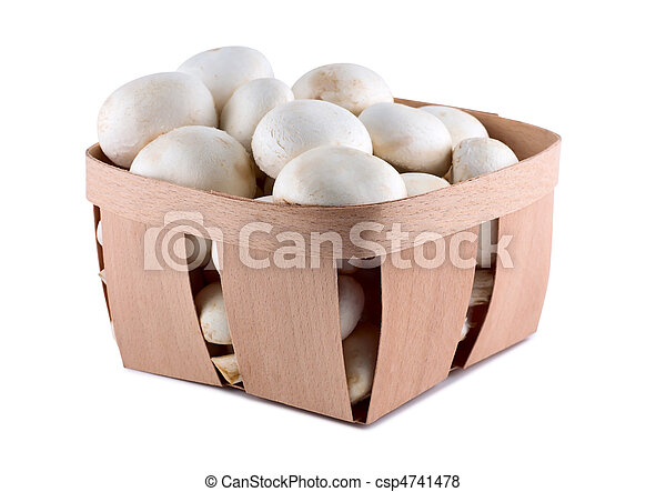 Mushrooms in box isolated on white background. - csp4741478