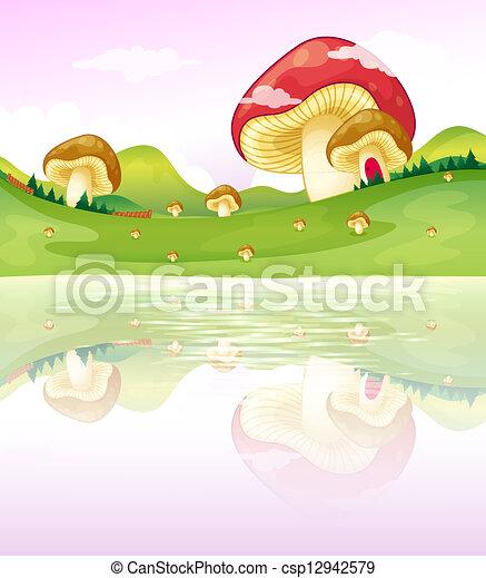 Mushrooms near the lake - csp12942579
