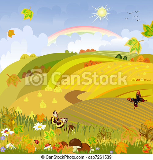 Mushrooms on a background of autumn landscape rural expanses - csp7261539
