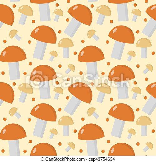 Mushrooms seamless pattern. Boletus edulis endless background, texture. Vegetable . Vector illustration - csp43754634