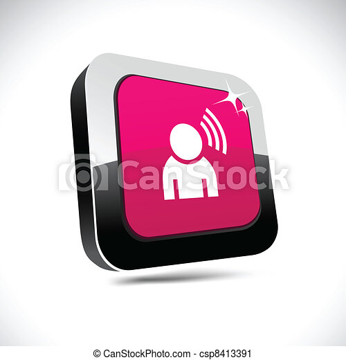 Music 3d square button. - csp8413391