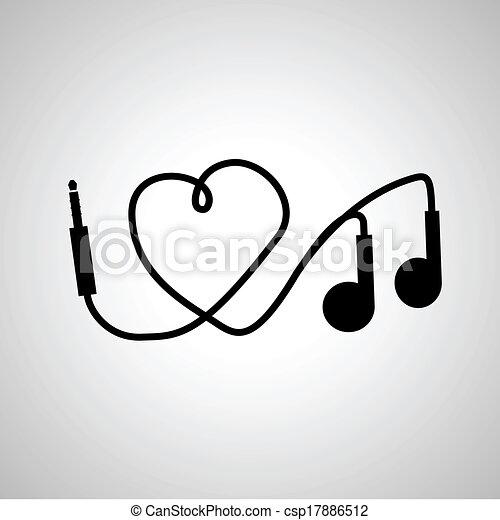 Music., amor, auriculares.