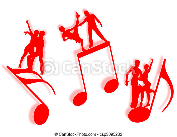music and dance couples dancing on notes in silhouette as clip rh canstockphoto com Music Notes Graphics Music Note Clip Art