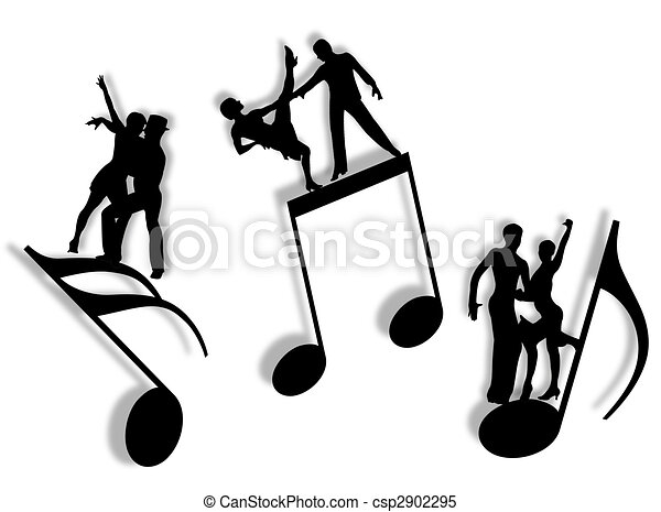 Music And Dance Couples Dancing On Notes In Silhouette As Symbol Of