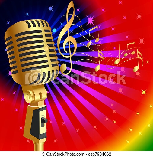 music background with gold(en) mike and note - csp7984062