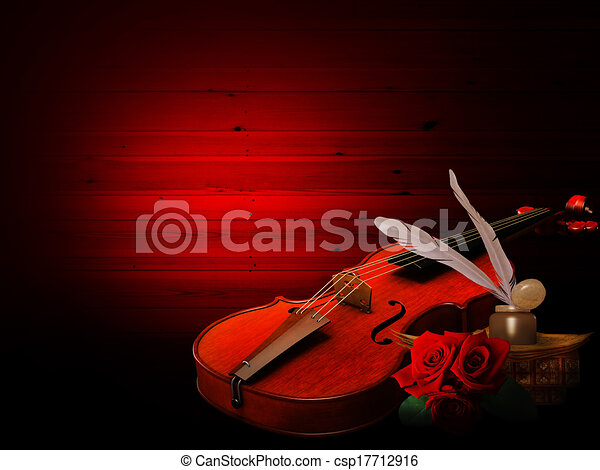 Music background with violin and roses - csp17712916