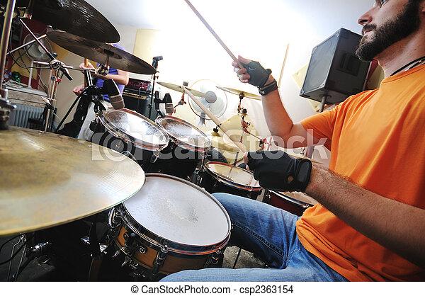 music band have training in garage - csp2363154