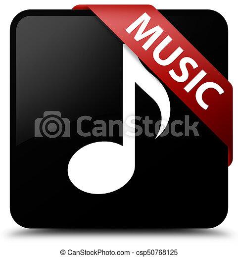 Music black square button red ribbon in corner - csp50768125