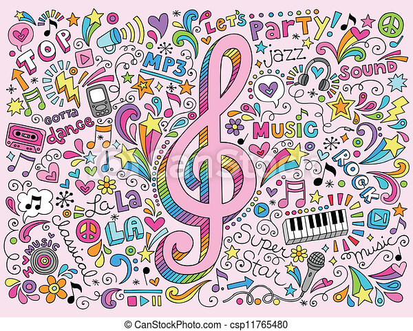 Music Clef and Notes Groovy Doodles - csp11765480