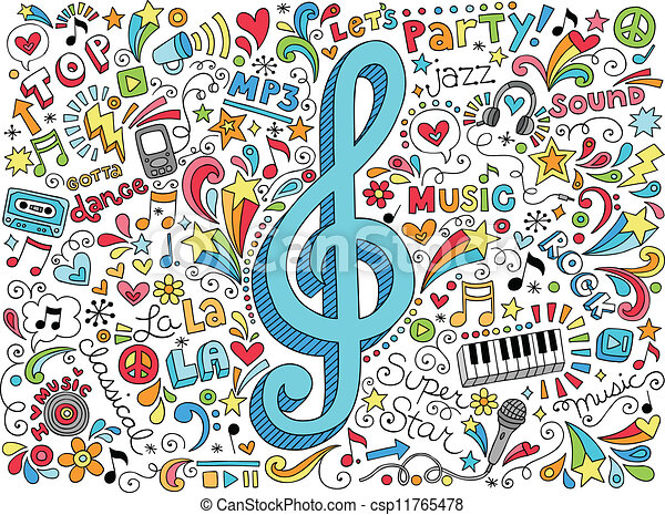 Music Clef and Notes Groovy Doodles - csp11765478