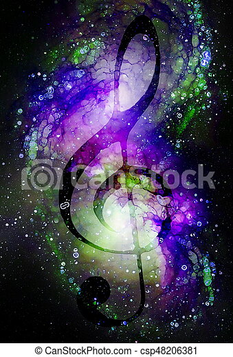 Music clef in space with stars  abstract color background  Glass effect   Music concept