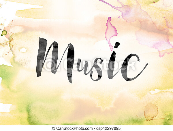 music colorful watercolor and ink word art the word music painted