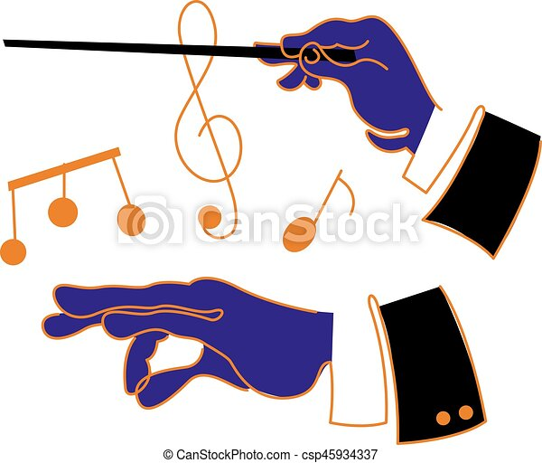 music conductor hands a cartoon style illustration of a musical rh canstockphoto com train conductor clipart free bus conductor clipart