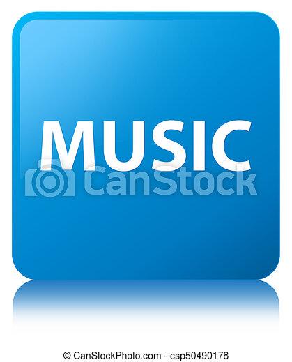 Music cyan blue square button - csp50490178