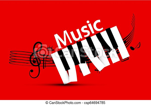 Music Design with Staff and Piano Keys on Red Background - csp64694785