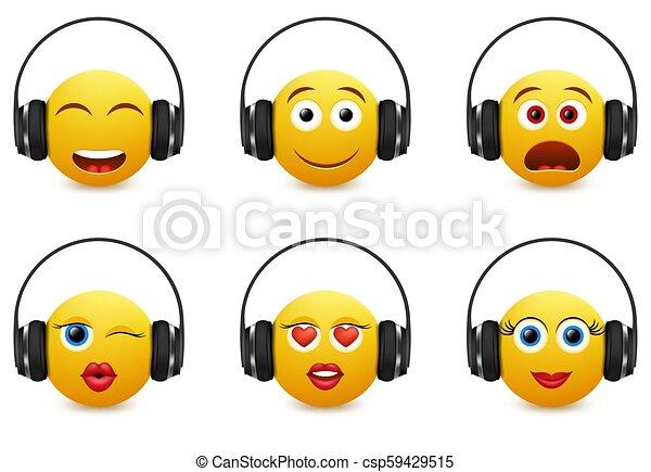 Music emoji in headphones vector icon set