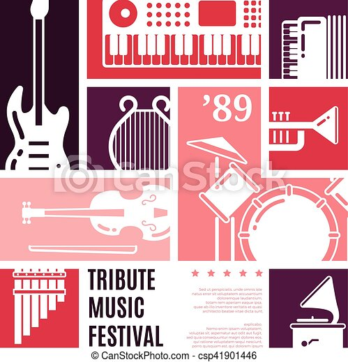 Music Festival Abstract Vector Background Music Instrument Flat