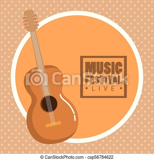 Music Festival Live With Acoustic Guitar Vector Illustration Design