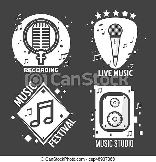 Music festival or shop labels vector headphones, microphone for recording studio - csp48937388