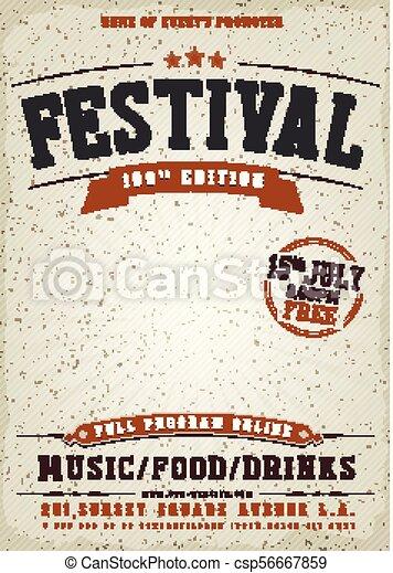 Music Festival Vintage Poster - csp56667859