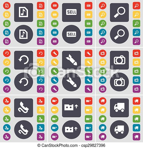 Music file, Sell, Magnifying glass, Reload, Rocket, Camera, Receiver, Cassette, Truck icon symbol. A large set of flat, colored buttons for your design. Vector - csp29827396