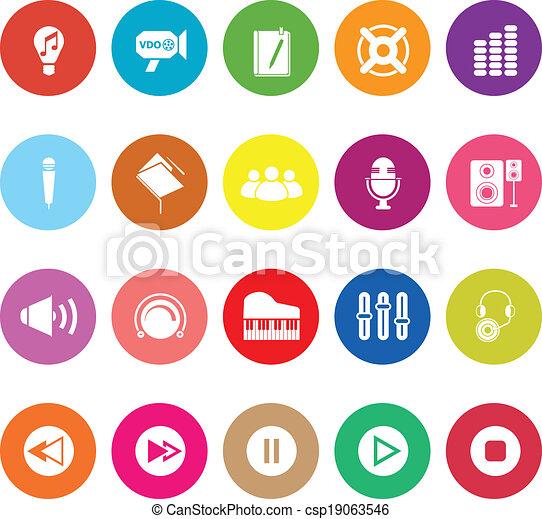 Music flat icons on white background - csp19063546