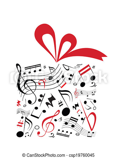 Music gift music concept vector of gift box with red ribbon eps music gift csp19760045 negle Image collections