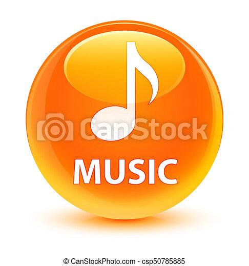 Music glassy orange round button - csp50785885
