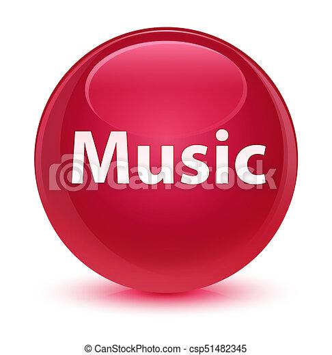 Music glassy pink round button - csp51482345