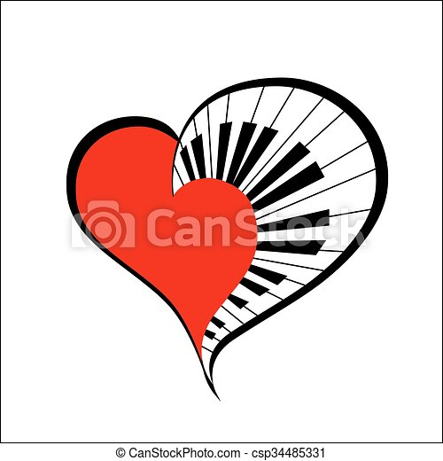 music heart vector music heart with piano keys as a simbol love rh canstockphoto com vector music note vector music notation