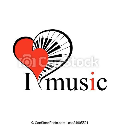 Music Heart With Text Vector Big Music Heart With Piano Keys As A