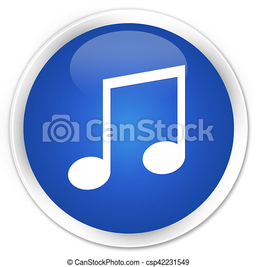 Music icon blue glossy round button - csp42231549