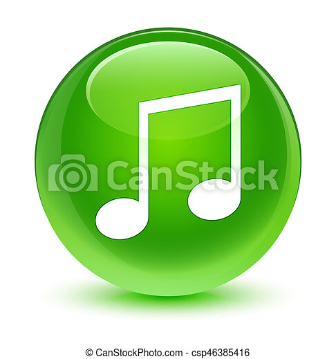 Music icon glassy green round button - csp46385416