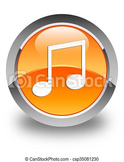 Music icon glossy orange round button - csp35081230