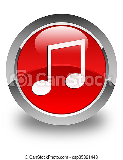 Music icon glossy red round button - csp35321443