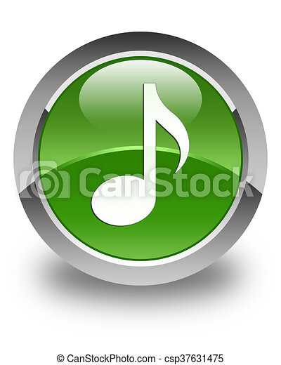 Music icon glossy soft green round button - csp37631475