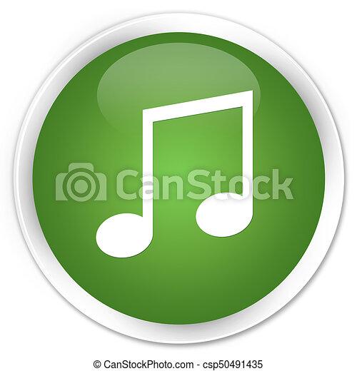Music icon premium soft green round button - csp50491435