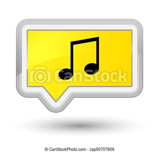 Music icon prime yellow banner button - csp50707609