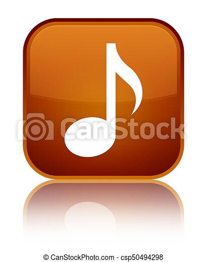 Music icon special brown square button - csp50494298