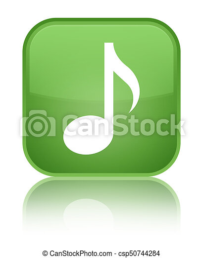 Music icon special soft green square button - csp50744284